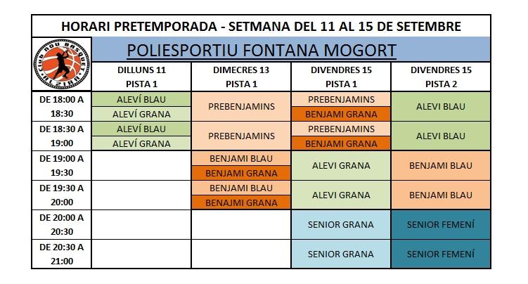 HORARIS PRETEMPORADA 3 SETMANA FONTANA