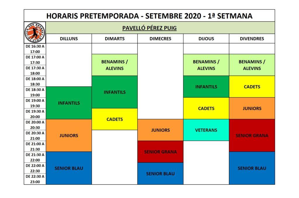 HORARIS PRETEMPORADA SETEMBRE 2020